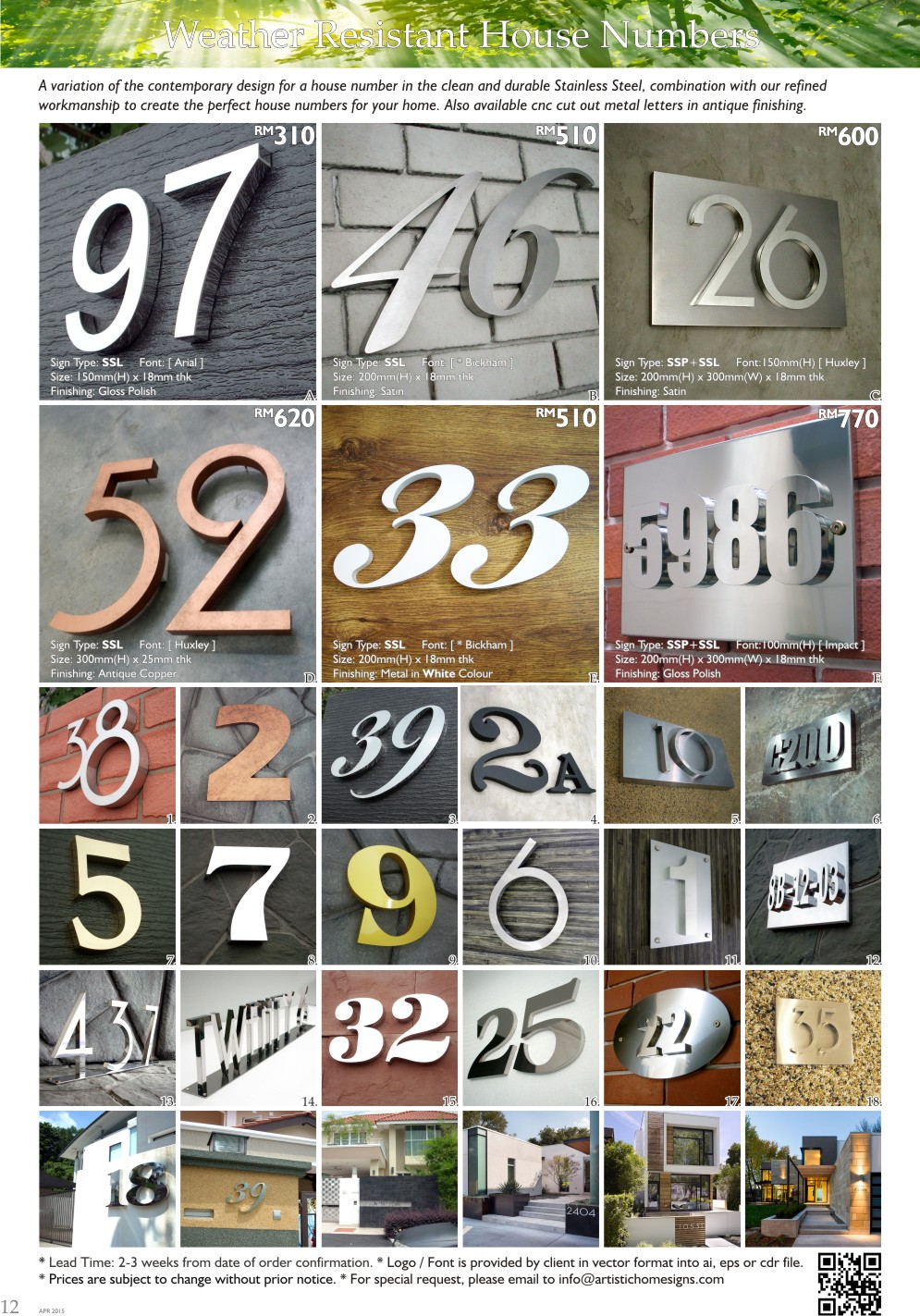 2015 Weather Resistant House Numbers